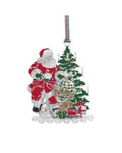 Christmas - Santa and Globe Hanging Decoration By Newbridge Silverware