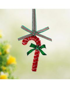 Christmas - Candy Cane with Bow Hanging Decoration By Newbridge Silverware